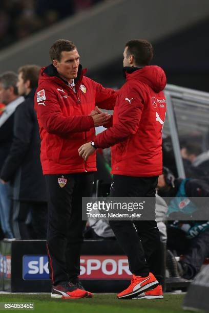 Hannes Wolf head coach of Stuttgart celebrates after the Second Bundesliga match between VfB Stuttgart and Fortuna Duesseldorf at MercedesBenz Arena...
