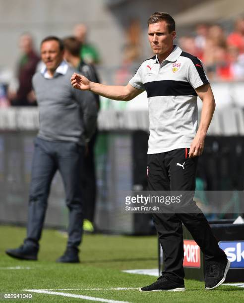 Hannes Wolf head coach of Stuttgart gestures during the Second Bundesliga match between Hannover 96 and VfB Stuttgart at HDIArena on May 14 2017 in...