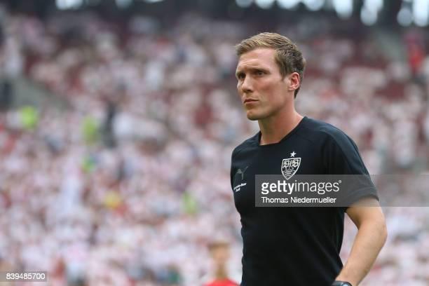 Hannes Wolf head coach of Stuttgart looks on during the Bundesliga match between VfB Stuttgart and 1 FSV Mainz 05 at MercedesBenz Arena on August 26...