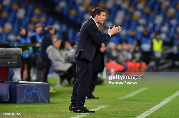 Hannes Wolf KRC Genk coach gestures during the UEFA Champions League group E match between SSC Napoli and KRC Genk at Stadio San Paolo on December 10...
