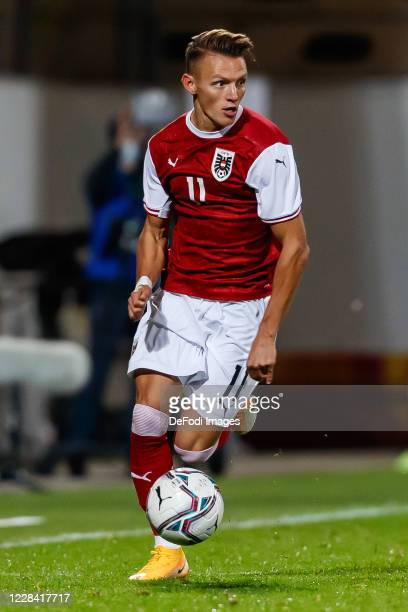 Hannes Wolf of Austria controls the ball during the UEFA Euro Under 21 Qualifier match between Austria U21 and England U21 at Keine Sorgen Arena on...