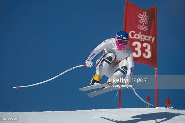 Hannes Zehentner of Germany in action during the Winter Olympic Games Men's Downhill held on February 15 1988 held in Calgary Canada