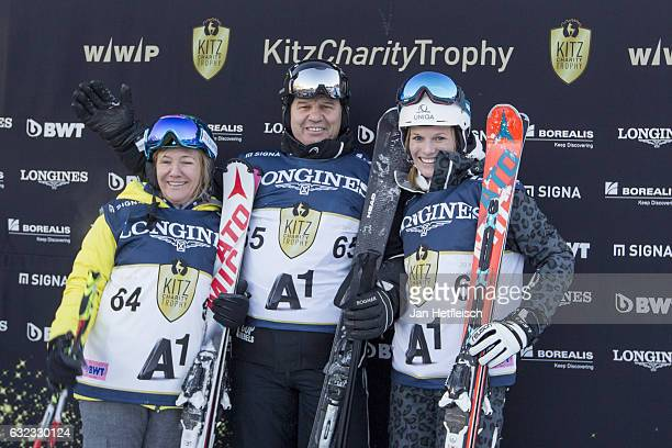 Hanni WeiratherWenzel Peter Schroecksnadel and Marlies Schild pose for a picture during the KitzCharityTrophy on January 21 2017 in Kitzbuehel Austria