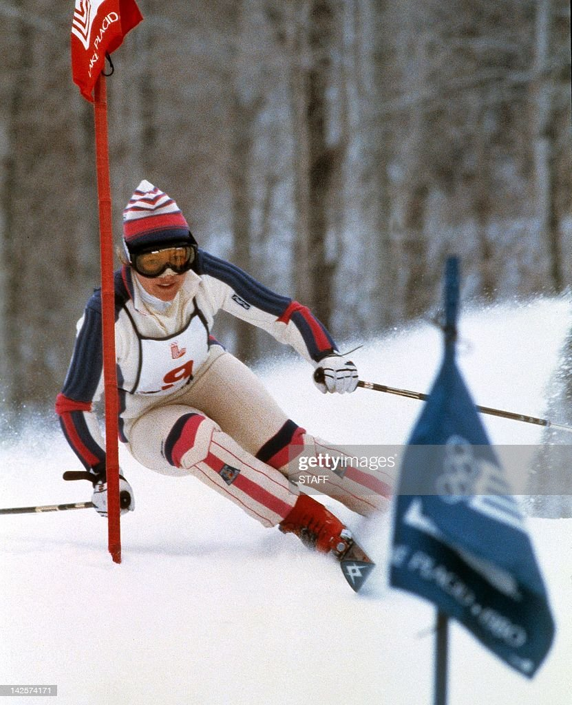 Hanni Wenzel from Liechtenstein clears a gate during the women's slalom, 23 February 1980 in Lake Placid at the Winter Olympic Games. Wenzel set the fastest times in both runs to win the gold medal in front of West German Christa Kinshofer (silver) and Swiss Erika Hess (bronze). During the skiing competition in Lake Placid, Hanni Wenzel won two gold medals (slalom and giant slalom) and a silver medal (downhill).