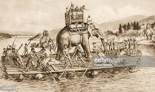 Hannibal and the Carthaginian army ferry their elephants across the River Rhone en route to Italy during the Second Punic War between Rome and...