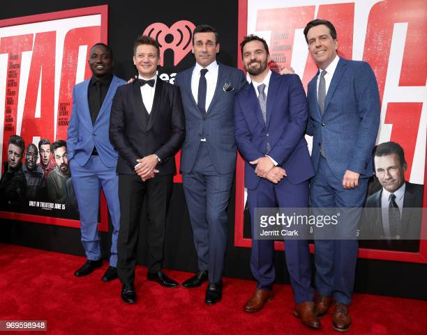 Hannibal Buress Jeremy Renner Jon Hamm Jake Johnson and Ed Helms attend the Premiere Of Warner Bros Pictures And New Line Cinema's Tag at Regency...