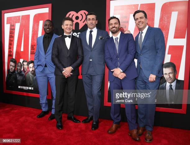 Hannibal Buress Jeremy Renner Jon Hamm Jake Johnson and Ed Helms attend the Premiere Of Warner Bros Pictures And New Line Cinema's 'Tag' at Regency...