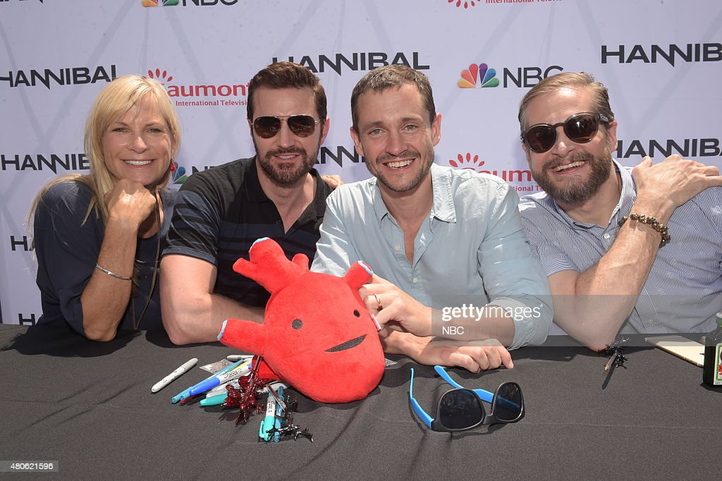 SAN DIEGO 2015 -- 'Hannibal' Cast Book Signing -- Pictured: (l-r) Martha De Laurentiis, Executive Producer; Richard Armitage, Hugh Dancy, Bryan Fuller, Executive Producer, Writer; Sunday, July 12, 2015, from Tin Fish Gas Lamp, San Diego, Calif. --