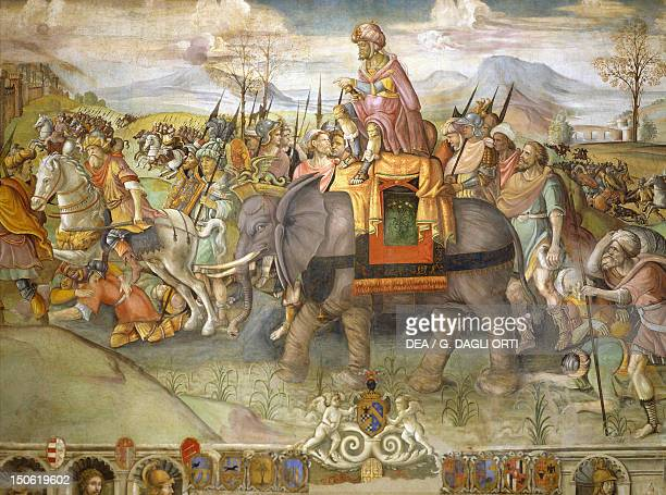 Hannibal crossing the Alps 218 BC by Jacopo Ripanda ca 1510 fresco from the Conservatories Palace Rome Detail Second Punic War Italy 3rd century BC