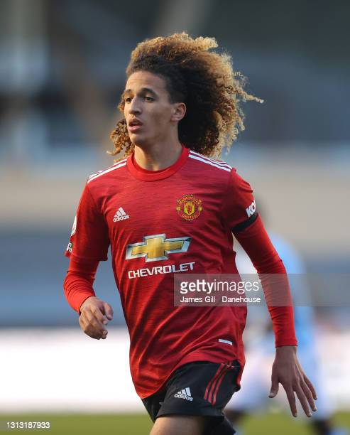 Hannibal Mejbri of Manchester United during the Premier League 2 match between Manchester City and Manchester United at Manchester City Football...