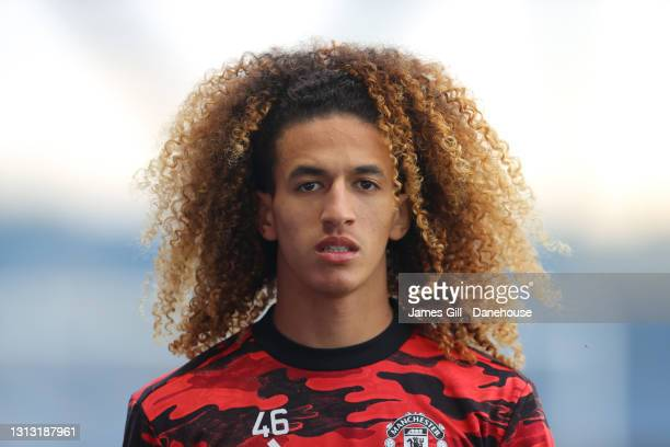 Hannibal Mejbri of Manchester United looks on prior to the Premier League 2 match between Manchester City and Manchester United at Manchester City...