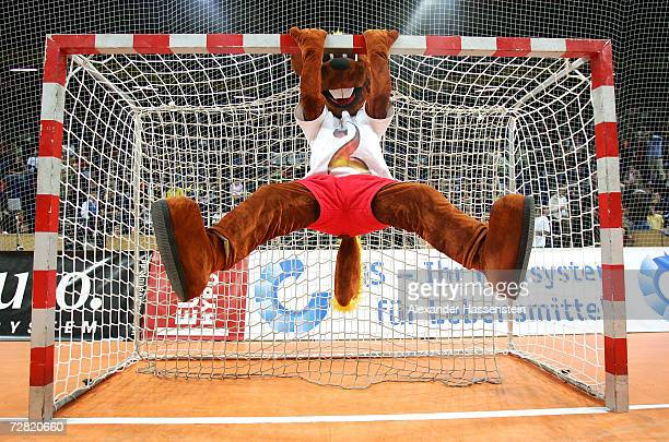 Hanniball the official mascot of the Mens Handball World Cup 2007 poses during the international friendly game between Germany and Sweden at the...
