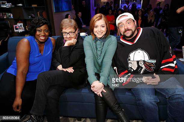NIGHT Hannigan Hale Hunt Oh My Episode 408 Pictured Contestant Dave Foley Alyson Hannigan Kevin Smith