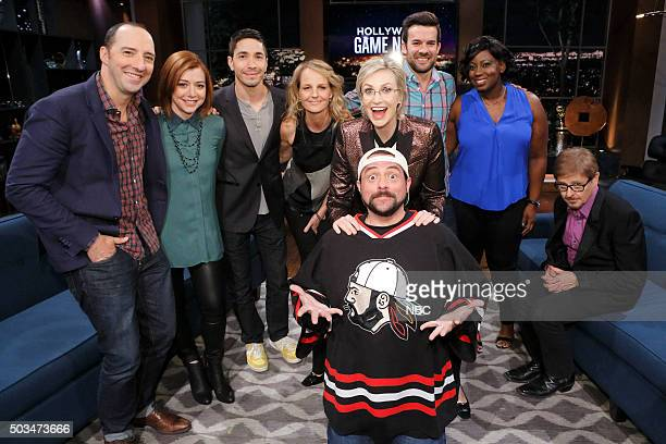 NIGHT 'Hannigan Hale Hunt Oh My' Episode 408 Pictured Tony Hale Alyson Hannigan Justin Long Helen Hunt Jane Lynch Kevin Smith Contestant Contestant...