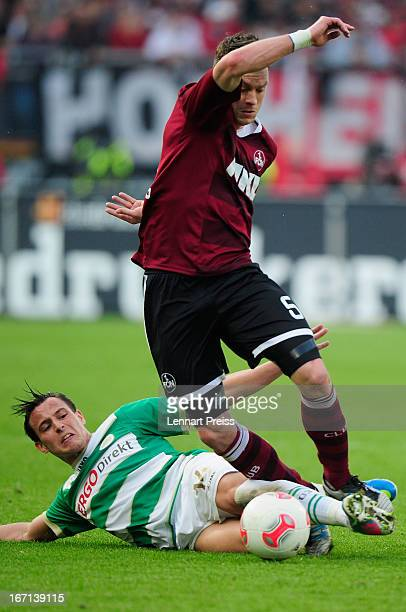 Hanno Balitsch of Nuernberg challenges Edgar Prib of Fuerth during the Bundesliga match between 1 FC Nuernberg and SpVgg Greuther Fuerth at Stadium...