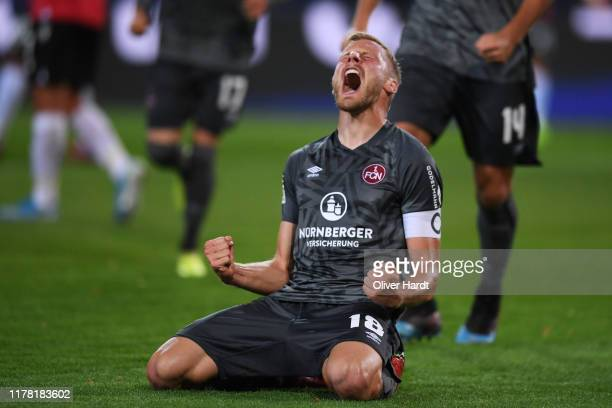 Hanno Behrens of 1 FC Nuernberg celebrates after scoring his team's first goal during the Second Bundesliga match between Hannover 96 and 1 FC...