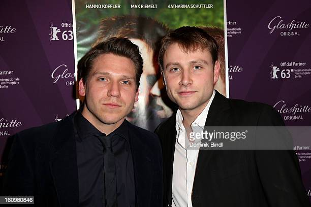 Hanno Koffler and Max Riemelt attend 'Freier Fall' cast at Glashuette Lounge on February 8 2013 in Berlin Germany