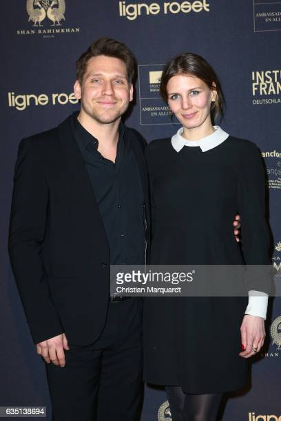 Hanno Koffler and Mia Marion Meyer attend the 'Soiree Francaise Du Cinema' during the 67th Berlinale International Film Festival Berlin at on...