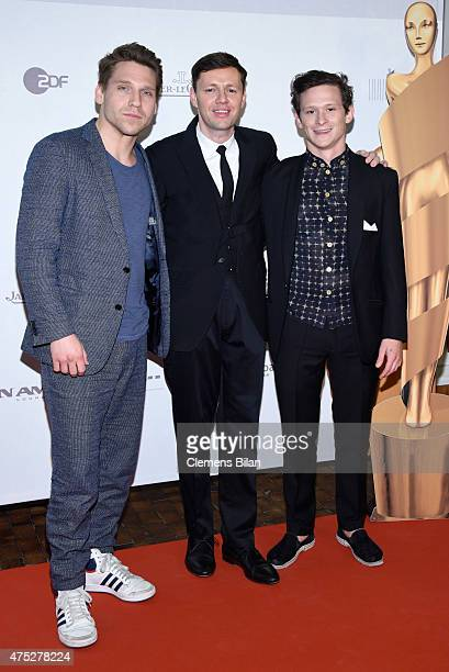 Hanno Koffler Christian Friedel and Joel Basman attend the nominee dinner for the German Film Award 2015 Lola at on May 30 2015 in Berlin Germany