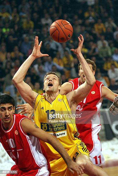 Hanno Mottola of Aris TT Bank in action during the Euroleague Basketball Game 5 between Aris TT Bank v Armani Jeans Milano at the Pionir on November...