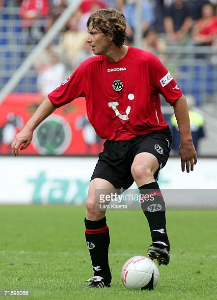 Hannover 96 player Michael Tarnat during the friendly match between Hanover 96 and Aston Villa at AWD Arena on August 5 2006 in Hanover Germany