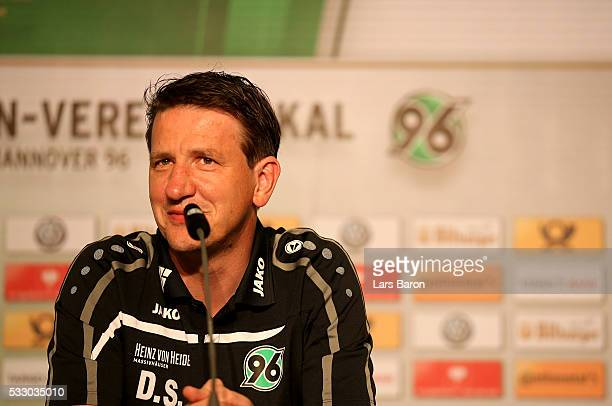 Hannover 96 U19 head coach Daniel Stendel talks to the media during the DFB Juniors Cup press conference at Olympiastadion on May 20 2016 in Berlin...