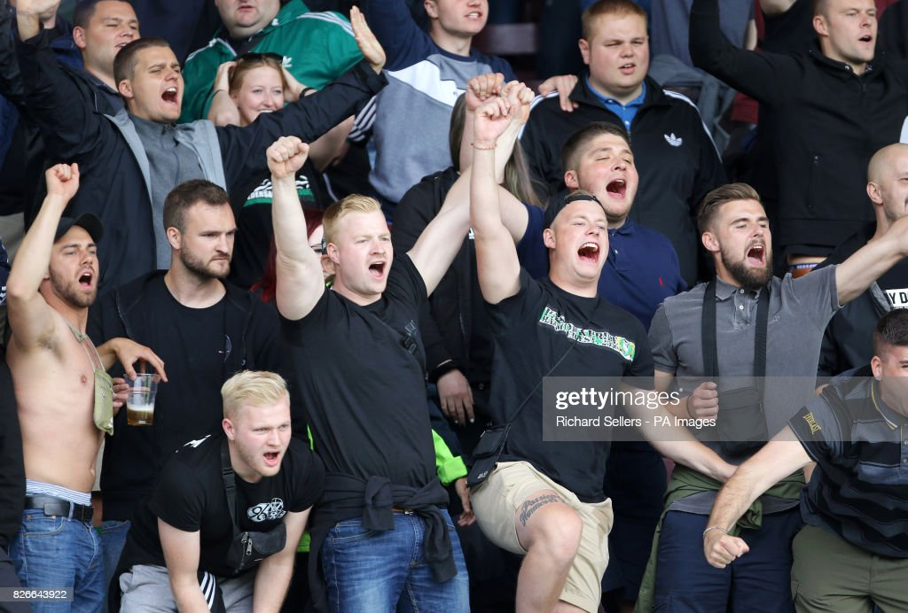 hannover 96 ultras show their support in the stands during the news photo getty images. Black Bedroom Furniture Sets. Home Design Ideas