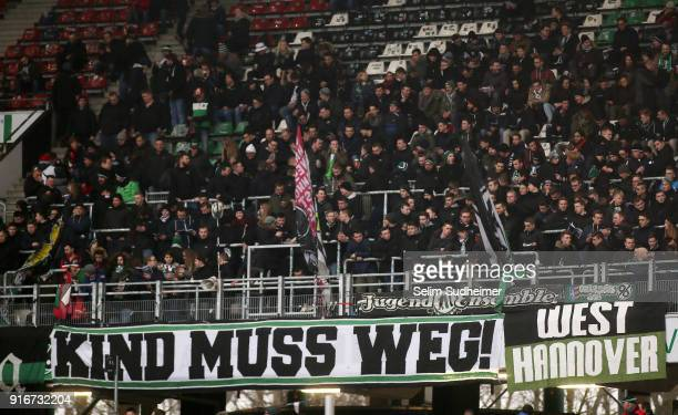 Hannover fans with a banner ' Kind muss weg ' during the Bundesliga match between Hannover 96 and SportClub Freiburg at HDIArena on February 10 2018...