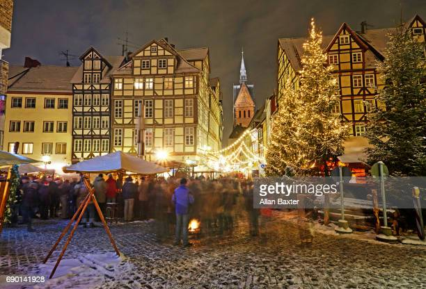 Hannover's Aldstadt christmas market illuminated at night