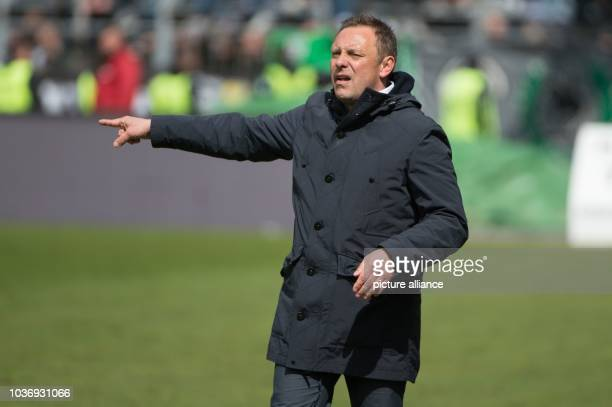 Hannover's Andre Breitenreiter gestures during the German 2nd divisionBundesliga soccer match between Erzgebirge Aue and Hannover 96 in the...