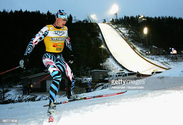 Hannu Manninen of Finland wins the cross country race and the first Welt Cup during the FIS World Cup on November 25, 2005 in Kuusamo, Finland.