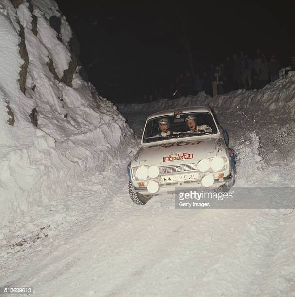 Hannu Mikkola of Finland and codriver Jim Porter in the Ford Escort RS1600 during the FIA World Rally Championship 42nd running of the Monte Carlo...