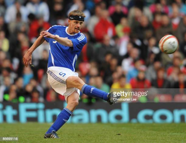 Hannu Tihinen of Finland in action during the FIFA 2010 World Cup Qualifier Group 4 match between Wales and Finland at the Millennium Stadium on...