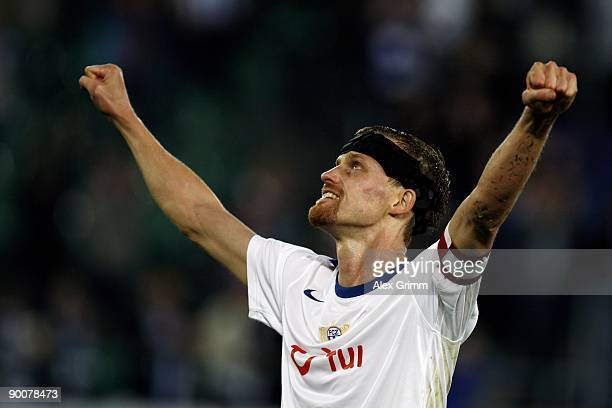 Hannu Tihinen of Zurich celebrates after the UEFA Champions League Qualifier match between FC Zurich and FK Ventspils at the AFG Arena on August 25...