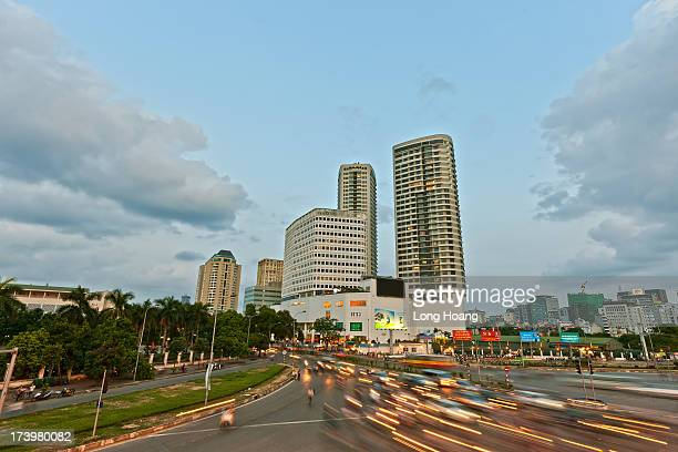 Hanoi city in the sunset