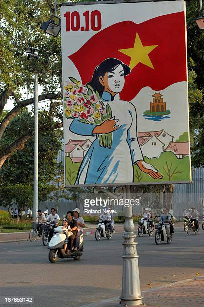 Hanoi city views and life A poster of a lady to celebrate the aniversary of independence from the French