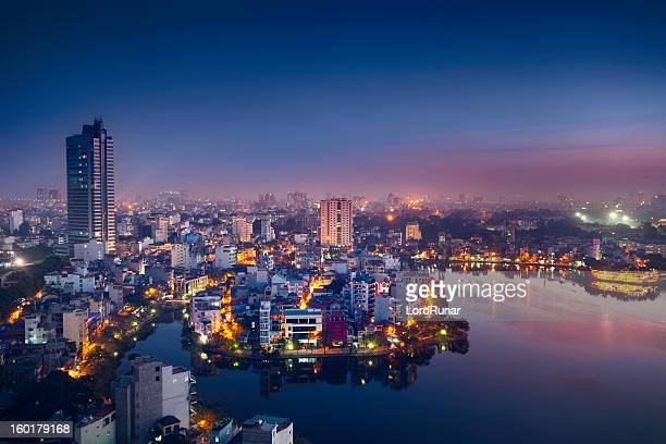 hanoi cityscape - vietnam stock pictures, royalty-free photos & images