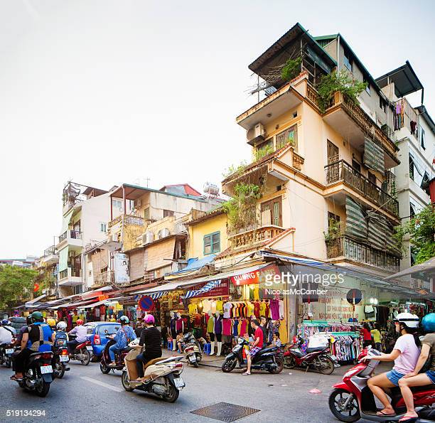 Hanoi Hang dao street view late Spring afternoon