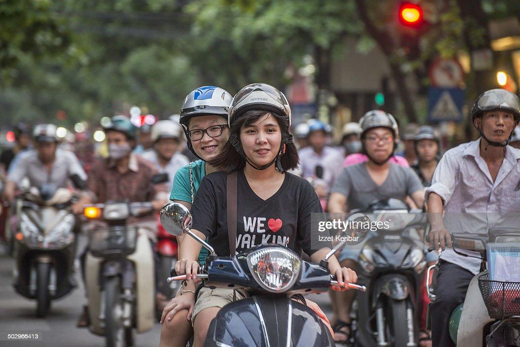 Hanoi intensive motorcylce traffic