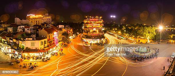 Hanoi Old Quarter panorama (Dong Kinh Nghia Thuc square) by night
