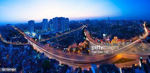 hanoi panorama and skyline, cityscape night view - ハノイ ストックフォトと画像