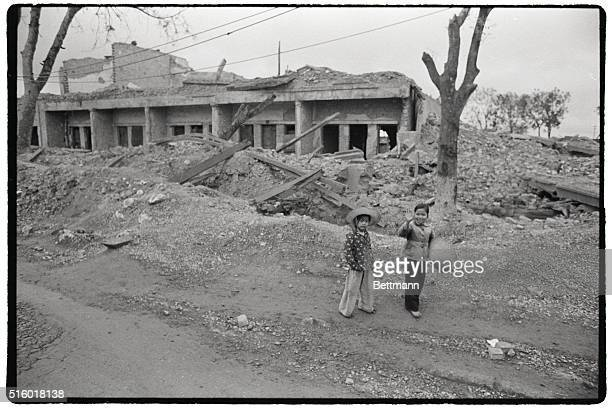 Hanoi Residents Check US Bomb Damage 1973