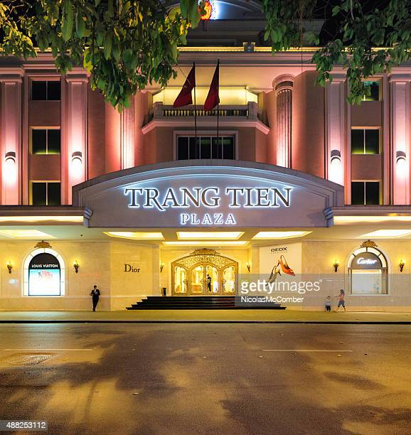 Hanoi Trang Tien Plaza entrance at night from street