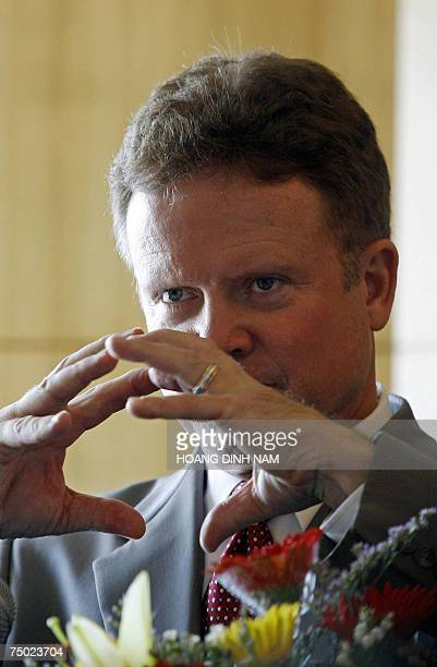 US senator Jim Webb answers questions during a press conference in Hanoi 04 July 2007 The senator who is a member of the Committees on Foreign...