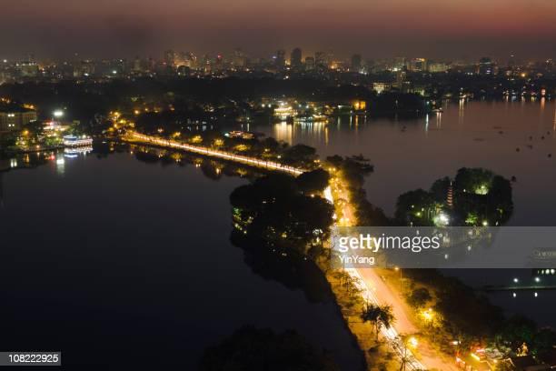 Hanoi Vietnam Cityscape, City Skyline and Street Scene at Night