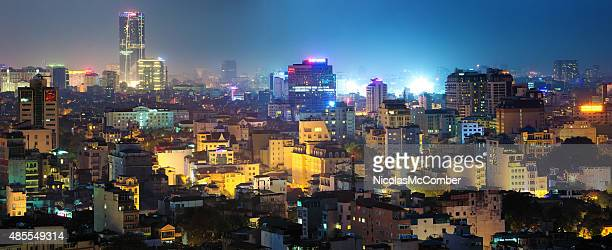 Hanoi Vietnam skyline panorama at night