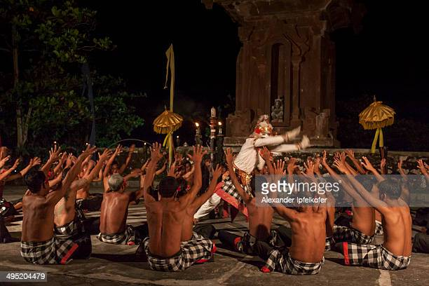 CONTENT] Hanoman swaying with the dancers during the Kecak Dance performance at Tanah Lot Bali Indonesia April 2009