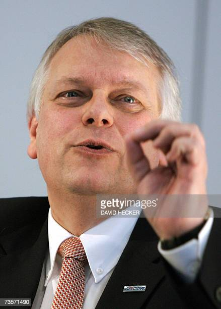 Chairman of German telecommunications company Arcor Harald Stoeber gestures as he gives a press conference at the CeBIT computer digital IT and...