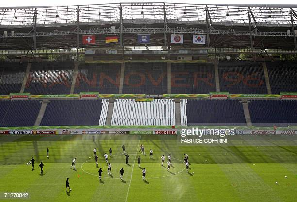 South Korean players are seen during a practice session at the WM-Stadion, 22 June 2006 in Hanover on the eve of their FIFA Football World Cup group...
