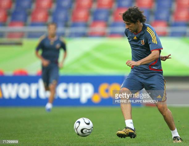 Spanish forward Raul drives the ball during a training session in Hanover, 26 June 2006. Spain will play their next match of the 2006 Football World...